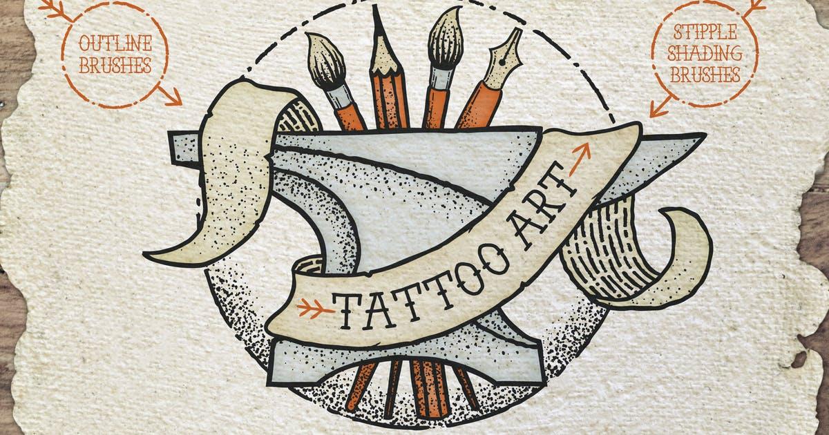 Illustrator纹身风格艺术笔刷Tattoo Style Art Brushes插图