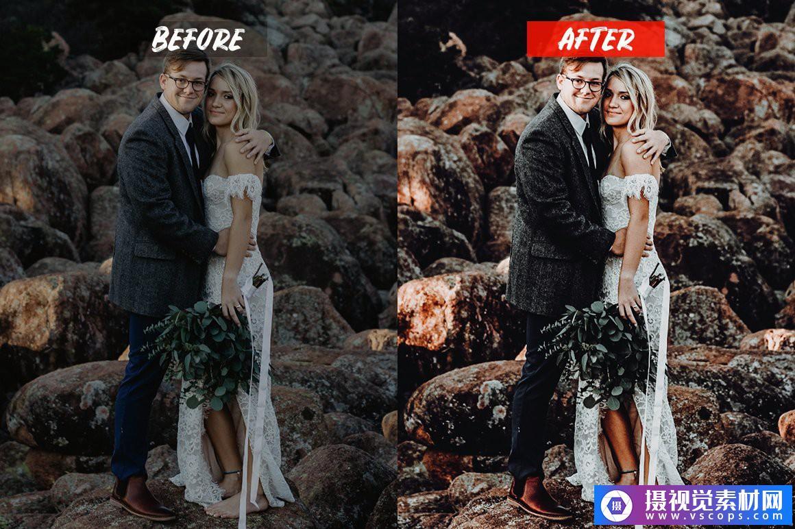 婚礼电影胶片人像LR预设/手机APP调色滤镜 Wedding Lightroom Presets Lightroom预设,效果图2
