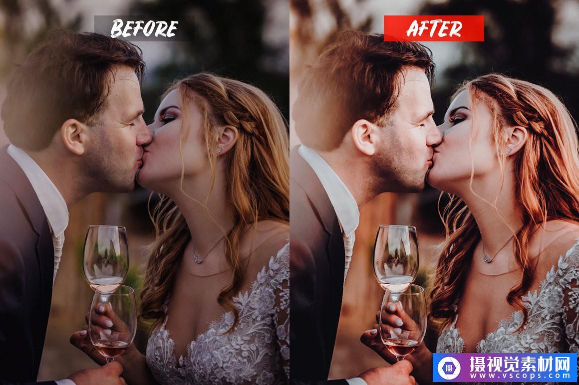 婚礼电影胶片人像LR预设/手机APP调色滤镜 Wedding Lightroom Presets Lightroom预设,效果图3