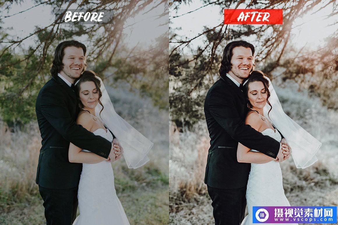 婚礼电影胶片人像LR预设/手机APP调色滤镜 Wedding Lightroom Presets Lightroom预设,效果图5
