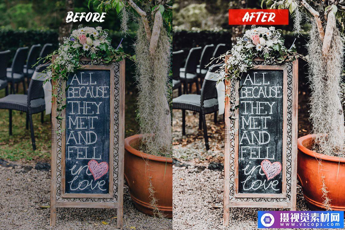 婚礼电影胶片人像LR预设/手机APP调色滤镜 Wedding Lightroom Presets Lightroom预设,效果图7
