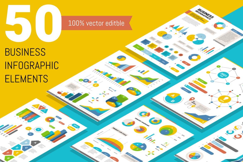50个时尚高端多用途的高品质大数据业务图表图标元素集合插图
