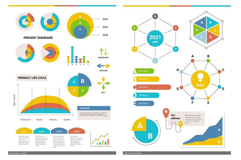 50个时尚高端多用途的高品质大数据业务图表图标元素集合插图1