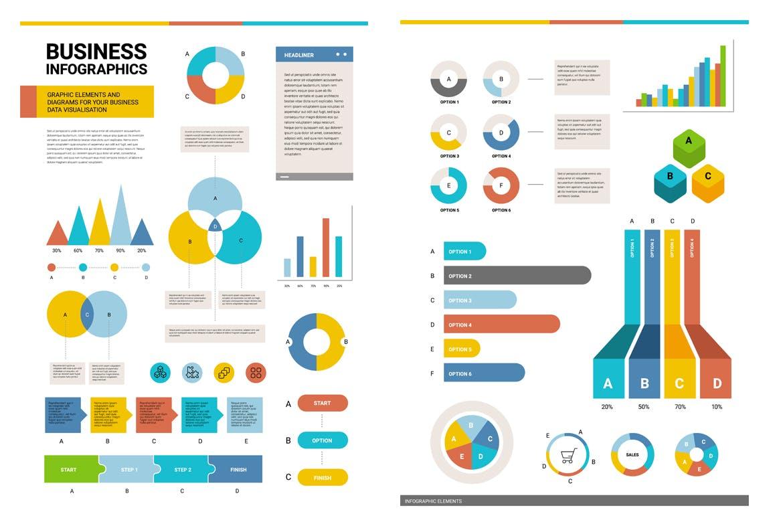 50个时尚高端多用途的高品质大数据业务图表图标元素集合插图3