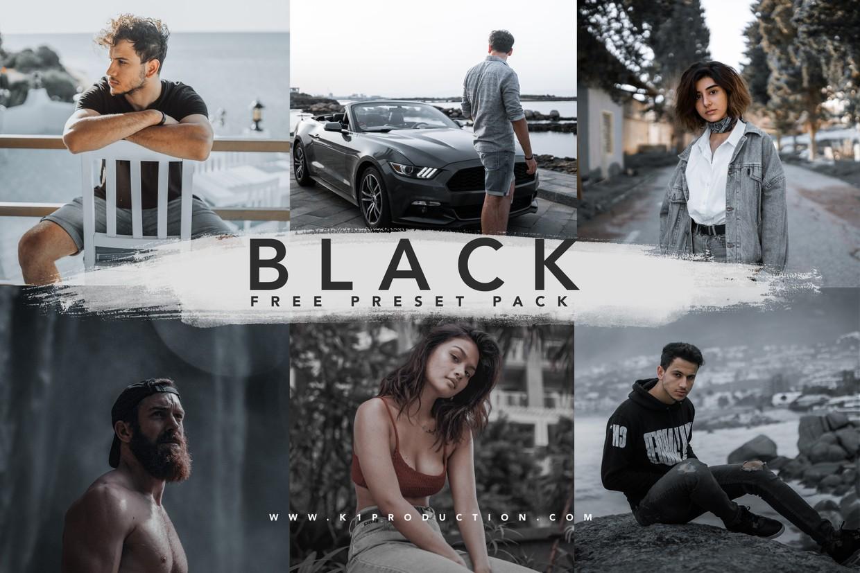 10个黑色预设哑光黑Lightroom预设手机版lr旅行摄影预设插图1