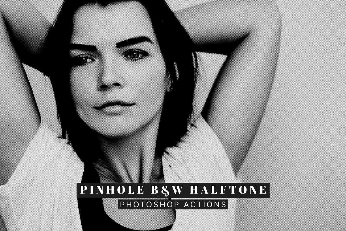 针孔黑白半色调Photoshop动作 Pinhole Halftone Photoshop Actions插图