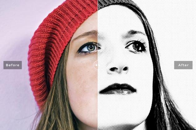 针孔黑白半色调Photoshop动作 Pinhole Halftone Photoshop Actions插图3