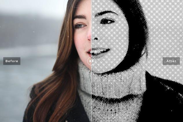 针孔黑白半色调Photoshop动作 Pinhole Halftone Photoshop Actions插图5