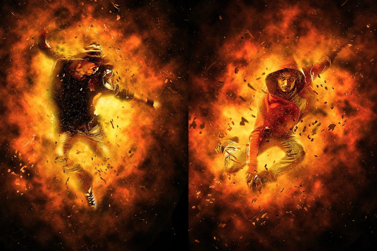 烈焰焚烧照片特效PS动作 Burn Photoshop Action插图